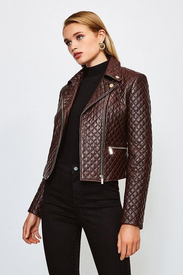 Fig Leather All Over Quilted Biker Jacket