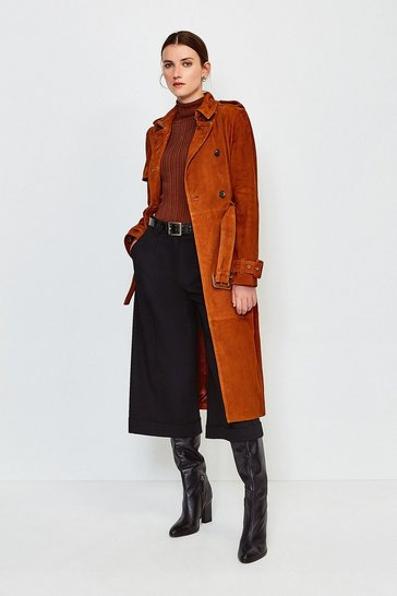 Tan Suede Trench Mac