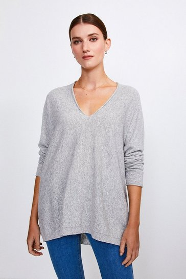 Light grey Cashmere Blend V-Neck Jumper