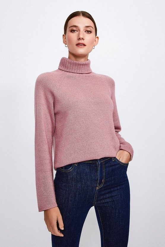 Rose Cashmere Blend Roll Neck Jumper