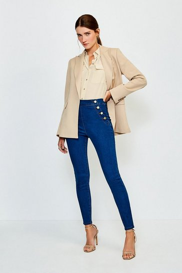 Mid wash Skinny Button Detail Jegging