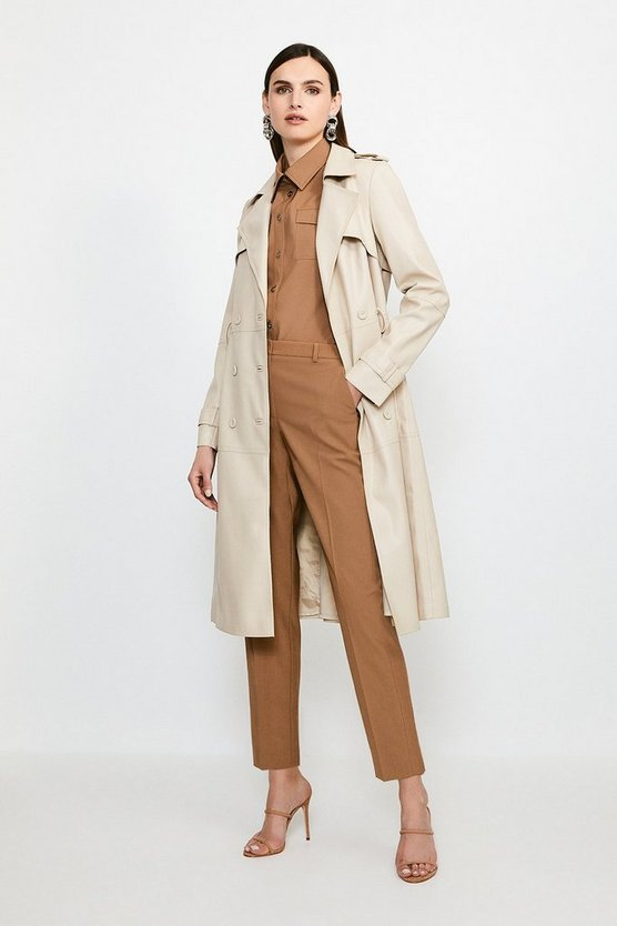 Cream Faux Leather Trench Coat