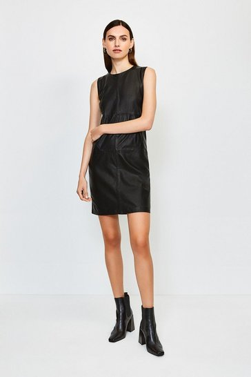 Black Leather and Ponte Shift Dress