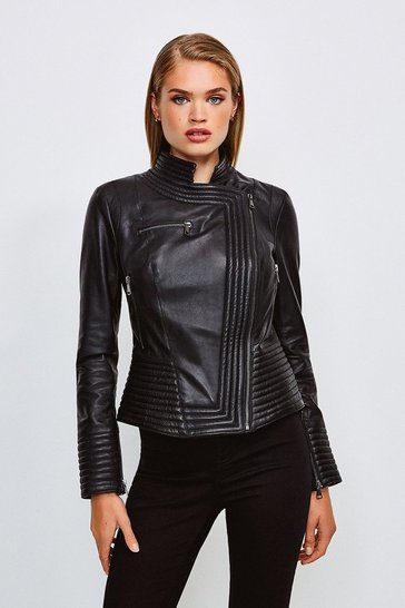 Black Leather Racer Biker Jacket