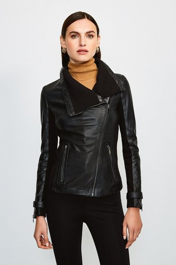 Black Leather and Knit Envelope Neck Biker Jacket