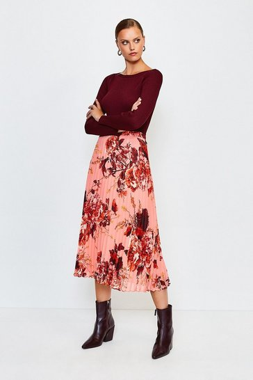 Pink Floral Print Midi Pleated Skirt