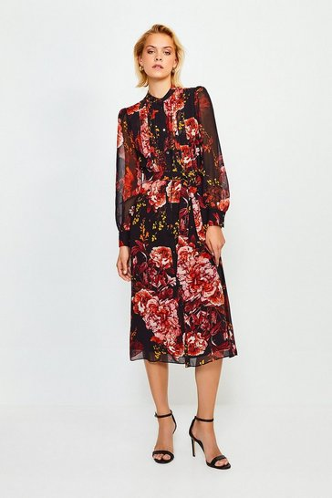 Red Long Sleeve Floral Print Midi Dress