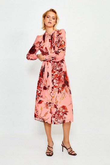 Pink Long Sleeve Floral Print Midi Dress