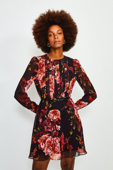 Black Long Sleeve Floral Print Short Dress