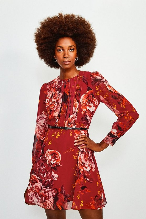Red Long Sleeve Floral Print Short Dress