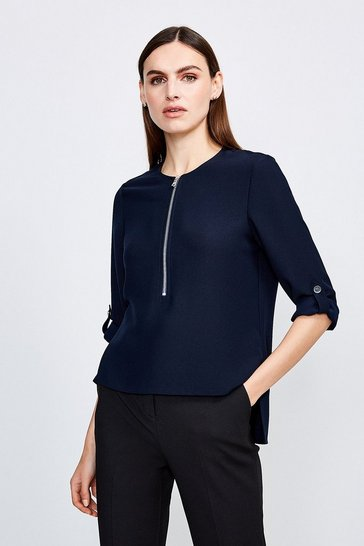Navy Relaxed Tailored Zip Front Top
