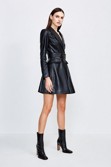 Black Leather Fluted Hem Mac