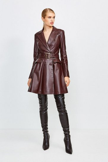 Fig Leather Fluted Hem Mac