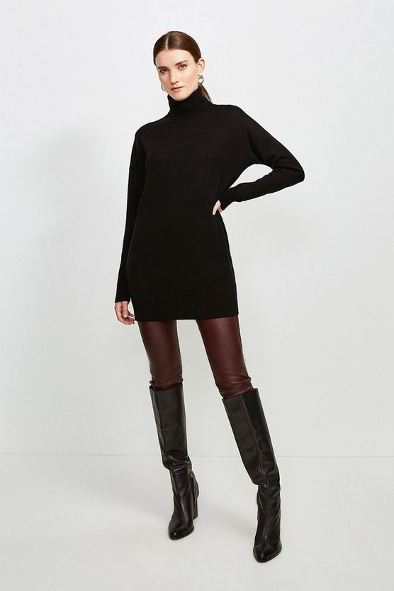 Black Merino Wool Roll Neck Longline Jumper
