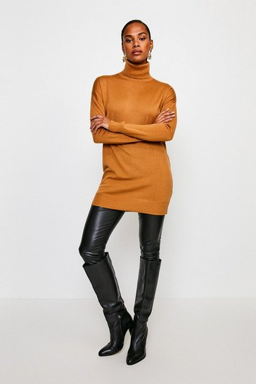 Camel Merino Wool Roll Neck Longline Jumper