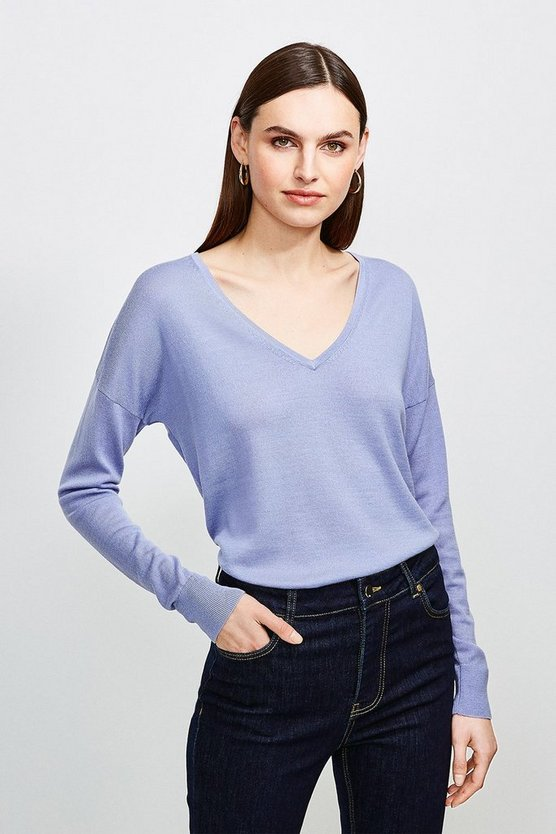 Blue Merino Wool V-Neck Longline Jumper