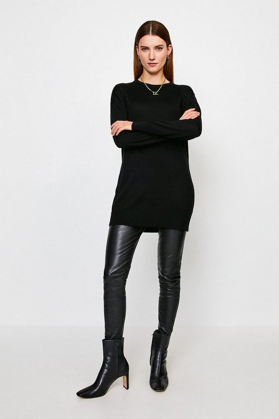 Black Merino Wool Crew Neck Longline Jumper