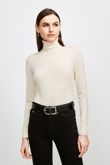 Ivory Merino Wool Roll Neck Jumper