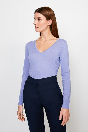 Blue Merino Wool V-Neck Jumper