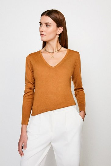 Camel Merino Wool V-Neck Jumper