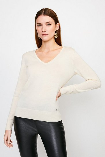 Ivory Merino Wool V-Neck Jumper