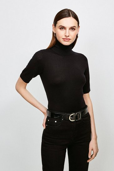 Black Merino Wool Short Sleeve Roll Neck Jumper