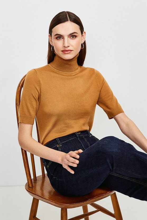 Camel Merino Wool Short Sleeve Roll Neck Jumper