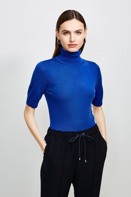 Cobalt Merino Wool Short Sleeve Roll Neck Jumper