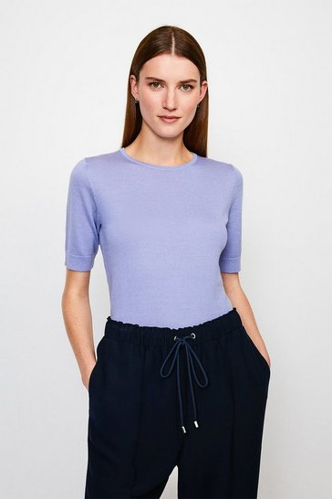 Blue Merino Wool Short Sleeve Crew Neck Jumper