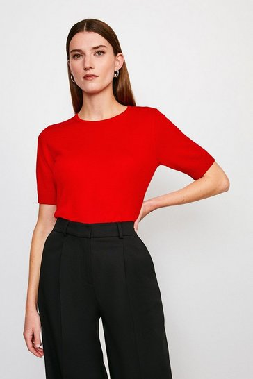 Red Merino Wool Short Sleeve Crew Neck Jumper