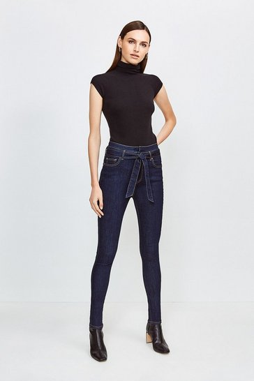 Dark wash High Double Waistband Skinny Jean