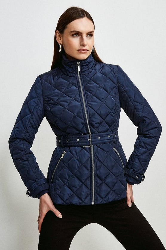 Navy Short Quilted Belt Coat