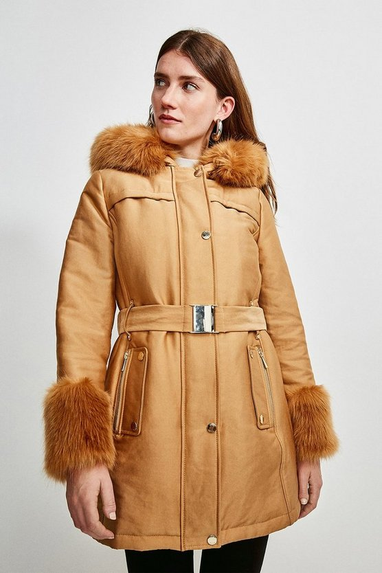 Camel Faux Fur Trimmed Parka Coat