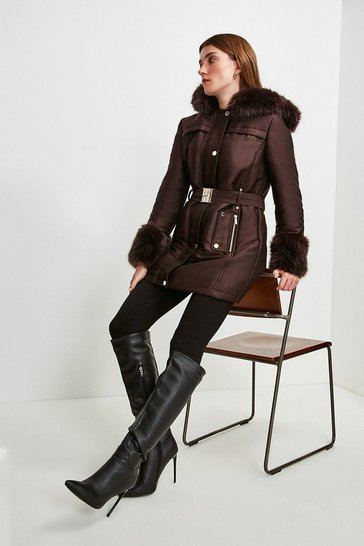 Chocolate Faux Fur Trimmed Parka Coat