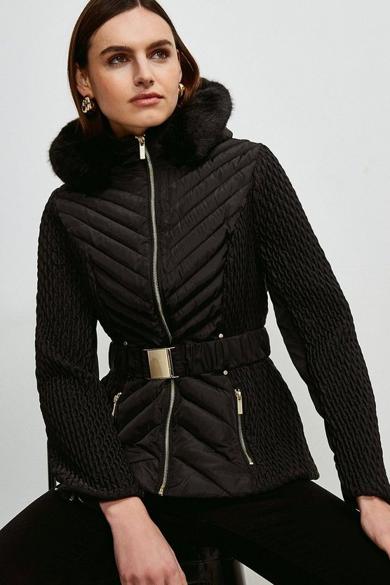 Black Short Quilted Faux Fur Trimmed Hood Coat