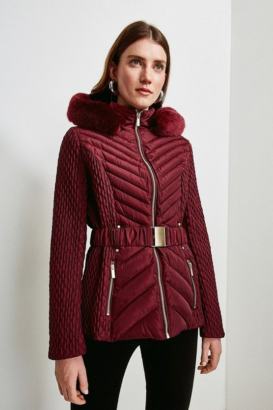 Fig Short Quilted Faux Fur Trimmed Hood Coat