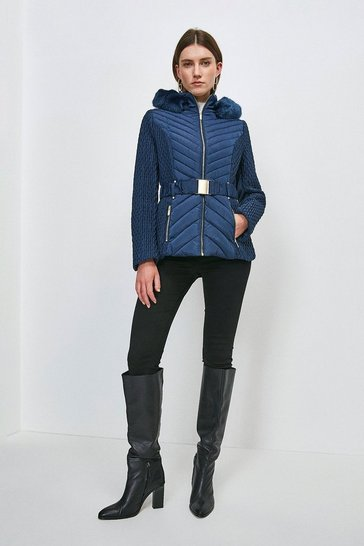 Navy Short Quilted Faux Fur Trimmed Hood Coat