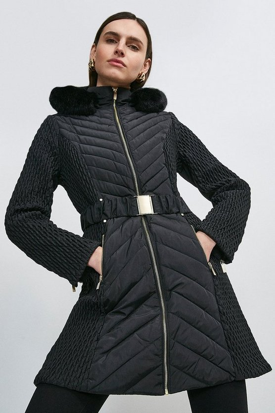 Black Long Quilted Faux Fur Trimmed Hood Coat