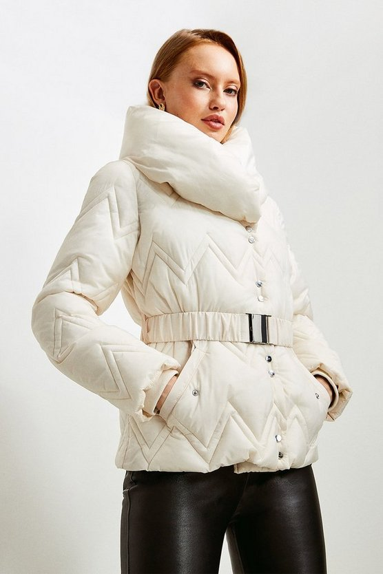 Ivory Short Quilted Padded Collar Coat