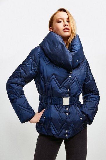 Navy Short Quilted Padded Collar Coat