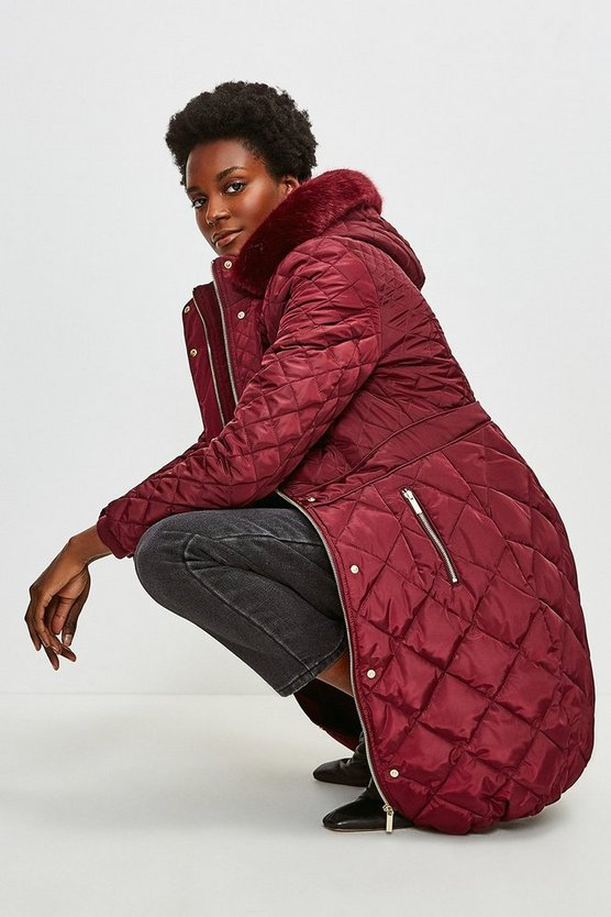 Fig Long Quilted Faux Fur Trimmed Hood Coat