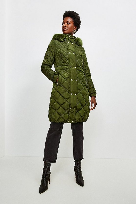 Olive Long Quilted Faux Fur Trimmed Hood Coat
