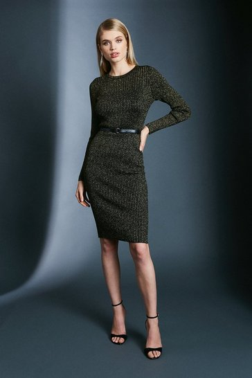 Black Sparkle Knit Rib Dress With Skinny Belt
