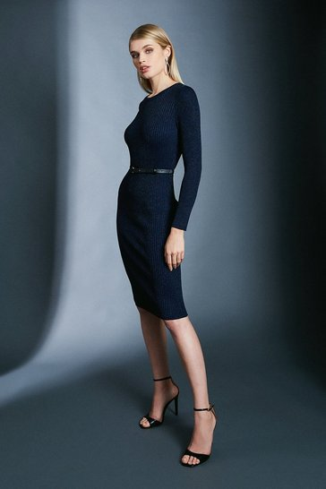 Navy Sparkle Knit Rib Dress With Skinny Belt