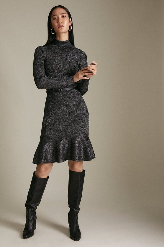 Black Sparkle Knit Rib Roll Neck Belted Flippy Hem Dress