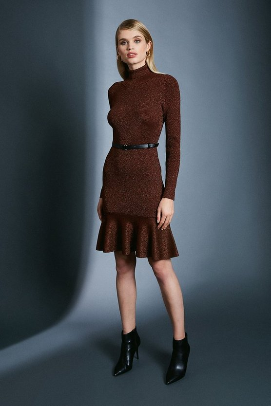Rust Sparkle Knit Rib Roll Neck Belted Flippy Hem Dress