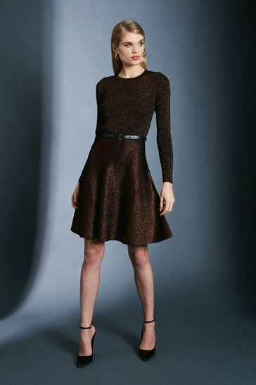 Black Sparkle Knit Rib Crew Neck Skater Dress