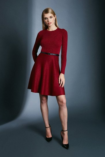Red Sparkle Knit Rib Crew Neck Skater Dress