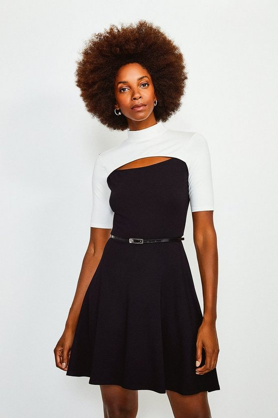 Mono Colour Block Peep Hole Belted Jersey Dress