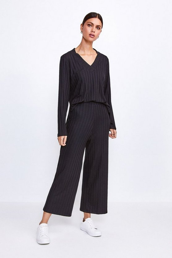 Black Ribbed Jersey Lounge Wide Leg Trouser